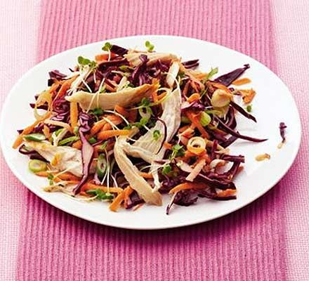 Make this crunchy coleslaw into a homely supper with roast chicken and mustardy mayo, or glam it up Asian-style with lime, herbs and juicy grilled chicken