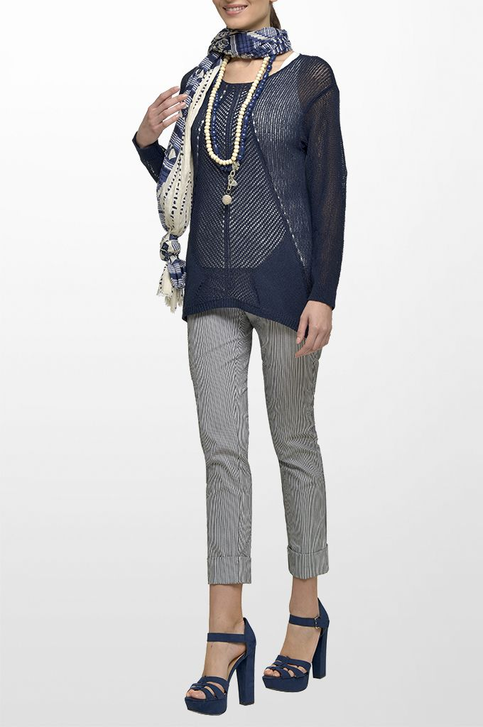 Sarah Lawrence - open stitch long sleeve sweater, cuffed pant with stripes, printed scarf, long layer necklace.