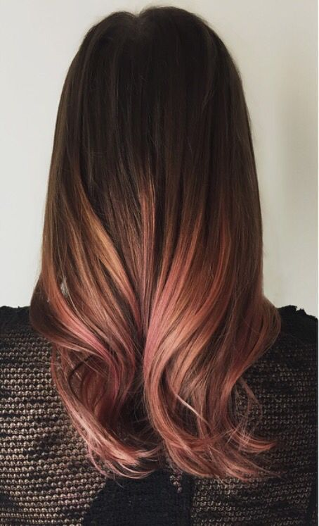 brunette, pink, and balayage image