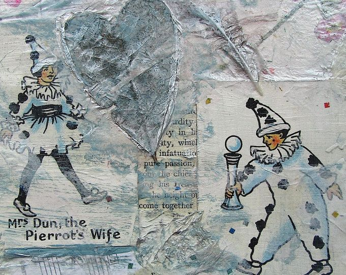 The Joy Of My Heart, Mixed Media Canvas Collage Wall Art Abstract, Happy Families, Vintage Pierrot Couple, Wedding Gift