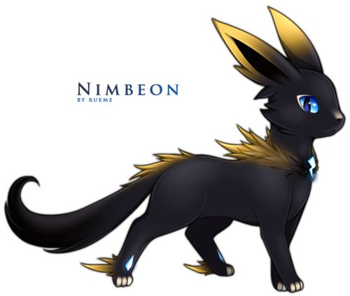 Eevee —> Nimbeon Level up Eevee with high friendship during rainy conditions. Dark / Electric Source. Artist: Rueme