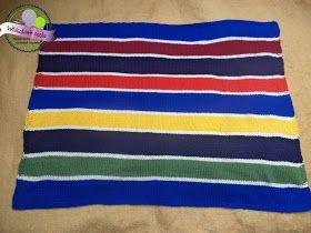 Kocyk na drutach w paski  Knitting baby blanket on stripes