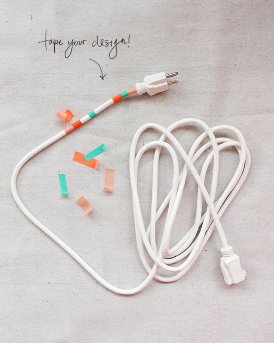 DIY washi tape power cords   designlovefest