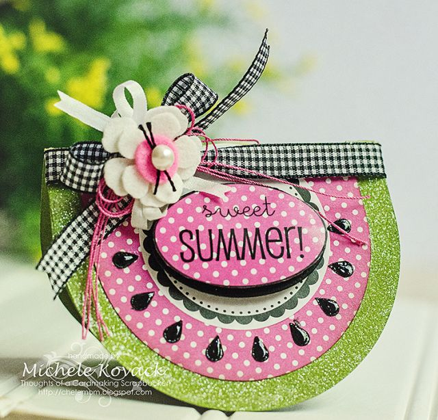 Summer time watermelon shaped card! Uses the Silhouette and SRM Stickers!