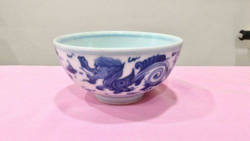 Blue and White Dragon Bowl, Qing Dynasty