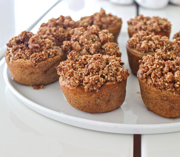 Zucchini Apple Muffins  1 large zucchini (courgette) 4 apples 2 cups of ground almonds 1 cup of buckwheat or brown rice flour ¼ of a cup of almond milk 1 tablespoon of coconut oil ½ a cup of raw agave syrup a handful of dates 1 tablespoon of cinnamon 1 teaspoon of vanilla essence For the oaty topping 1 cup of oats 1 cup of pecans ½ a cup of almonds 2/3 of a cup of dates 1 tablespoon of coconut oil 2 tablespoons of raw agave syrup