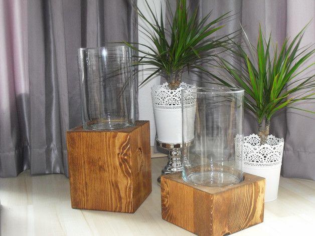 Kerzenständer - Windlicht Massivholz DOPPELPACK 28cm und 38cm - ein Designerstück von lovemade-home bei DaWanda