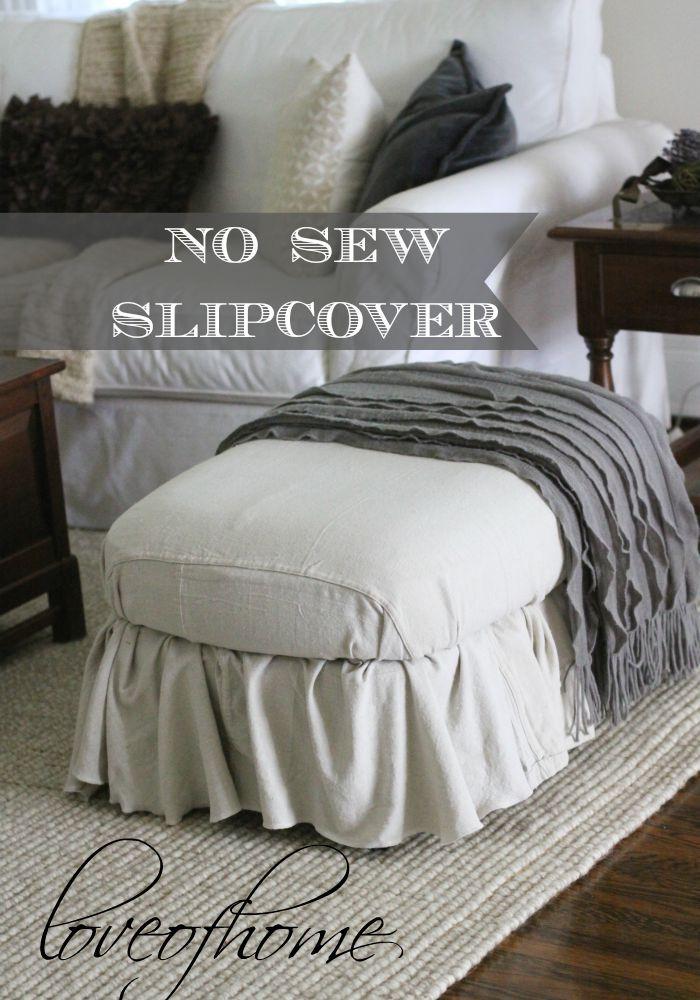 No Sew Ottoman Slipcover Using Painter S Drop Cloth