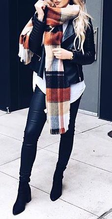 #fall #outfits / plaid scarf + leather