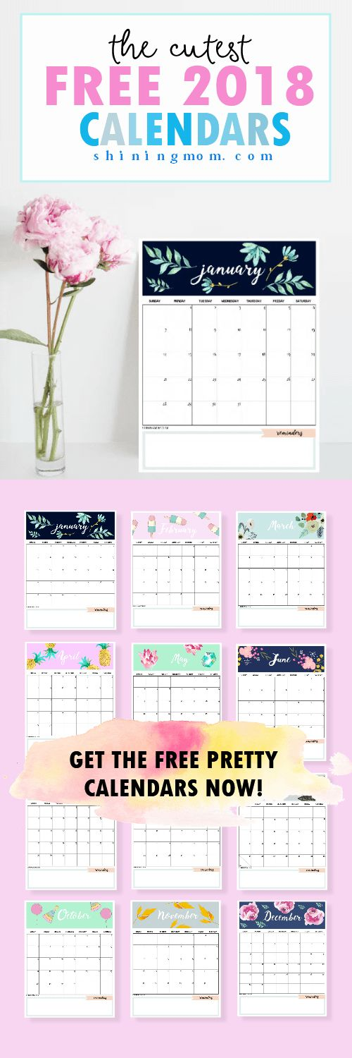This amazing free calendar 2018 printable will help you plan a great year ahead! Print for FREE!