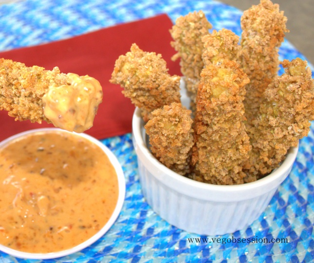 Breaded Coconut Curry Eggplant Fries (baked, not deep-fried). Crunchy and delicious! #vegan #snack #recipe
