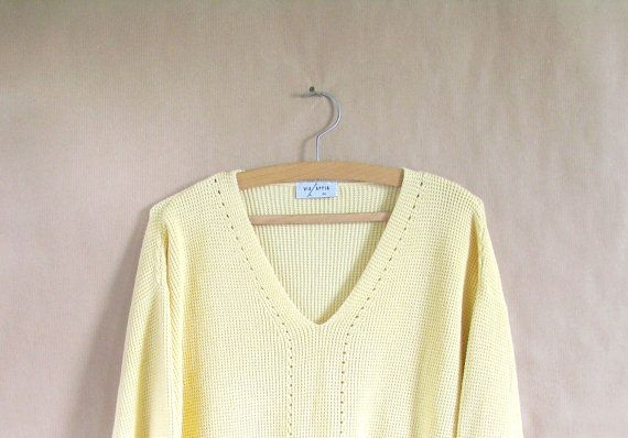 Vintage Yellow Cotton Sweater V Neck Sweater Ribbed by freshlook93, $14.99