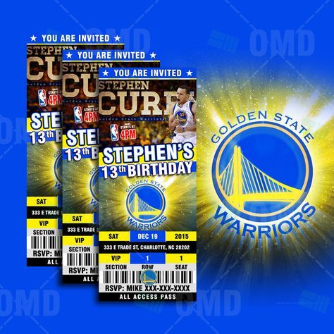 "2.5x6"" Golden State Warriors Sports Party Invitation, NBA Sports Tickets Invites, Basketball Birthday Theme Party by sportsinvites"