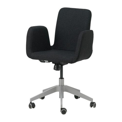 IKEA - PATRIK, Swivel chair, Ullevi dark gray,  , , You sit comfortably since the chair is adjustable in height.Adjustable tilt tension allows you to adjust the resistance to suit your movements and weight.The casters are rubber coated to run smoothly on any type of floor.
