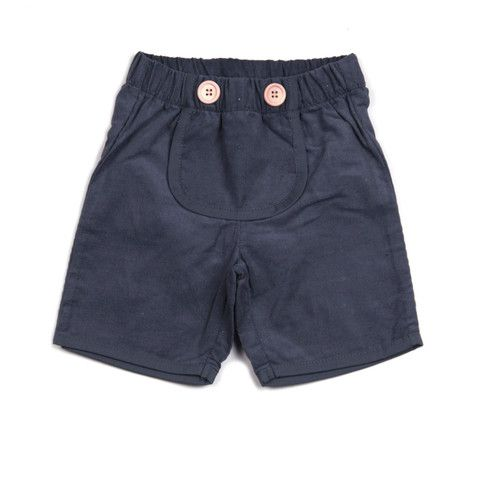 Krutter made grey farmer shorts are great for play (possibly the cutest shorts ever made).  100% cotton (baby corduroy), Oeko-Tex standard 100.  The elasticised waist makes them super comfortable. There are two wooden buttons on cute front pocket.  There is a matching grey bevelled edge on the pocket and the shorts leg.  Made in Turkey. $56.95