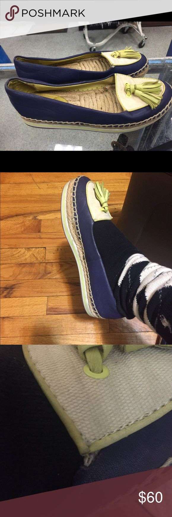 Coach size 6.5 Coach size 6 blue cream lime green espadrilles and rubber sole , tassels Coach Shoes Espadrilles