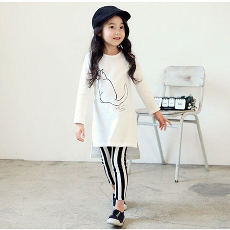 2016 горячие продажа девушки весна и осень одежда наборы кошка отпечатано белая рубашка полосатые длинные брюки дети костюм девушки случайные набор