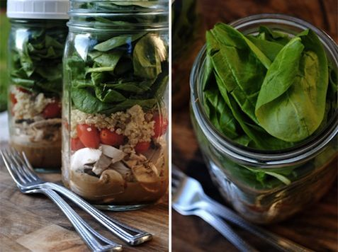 going to try the salad in a jar - dressing at the bottom not touching leaves = no soggy bits. shake and eat.