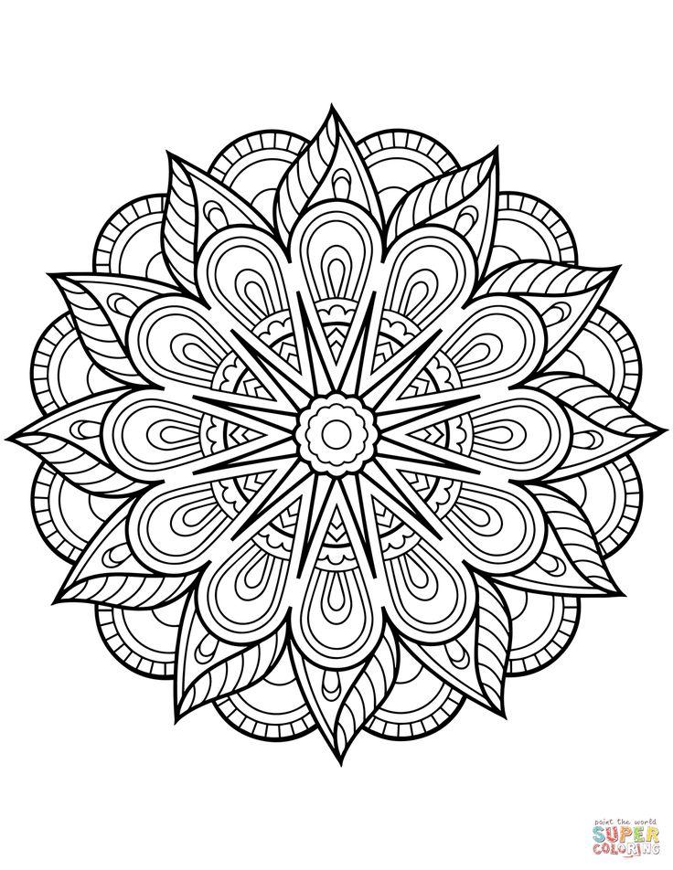 gunston coloring pages   Blomster mandala tegninger   Mandalas   Mandala coloring ...