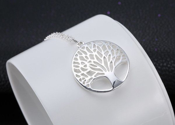 Elegant Silver Tree of Life Necklace sawn from silver sheet