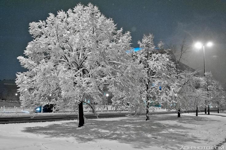 Beautiful snowy Warsaw, Poland