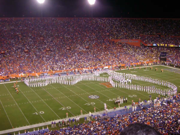 In their pregame performance, the UF band makes their famous map of Florida on the field. Florida-LSU game, 2008.