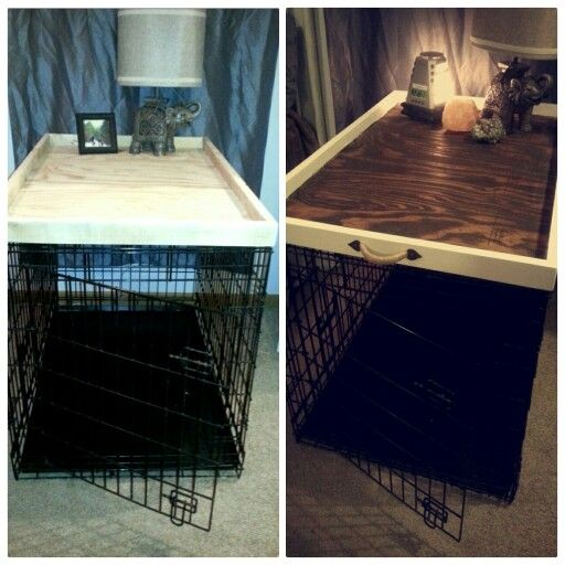 Dog Kennel Crate Topper. Can also be used as an ottoman/ coffee table tray  Materials: recycled wood, Hobby Lobby handles, stain, paint, and caulk