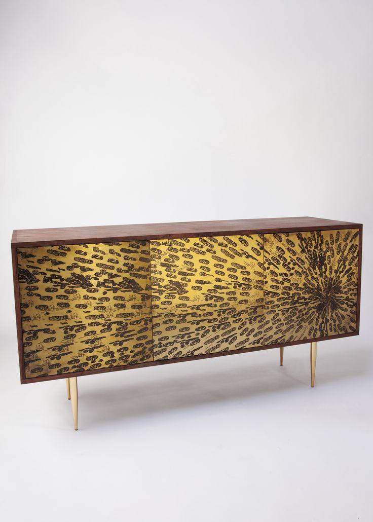 Peacock Credenza $1835 #peacock #credenza #gold #cabinet #midcentury