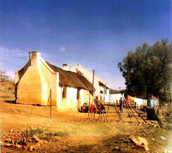 Zoar ('refuge', 'haven') village and mission station 21km E of Ladismith, Western Cape. Founded by South African Missionary Society on Elandsfontein farm (1817), named after Zoar by the Red Sea.  Very old photo taken with very old camera. Please excuse bad quality.