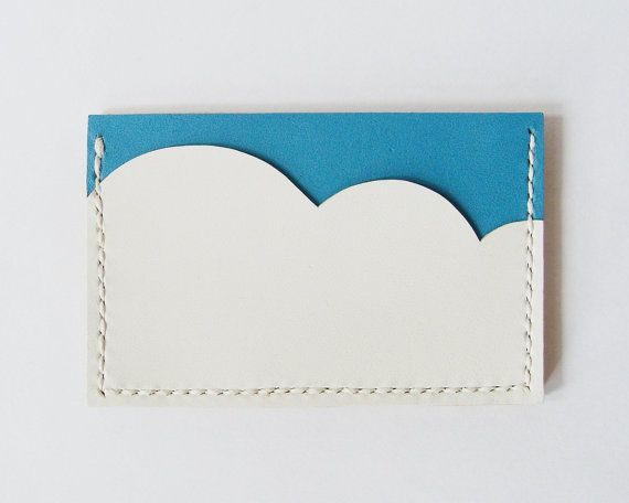 Business Card Holder  Leather Card Case with Aqua by starryday, $24.00