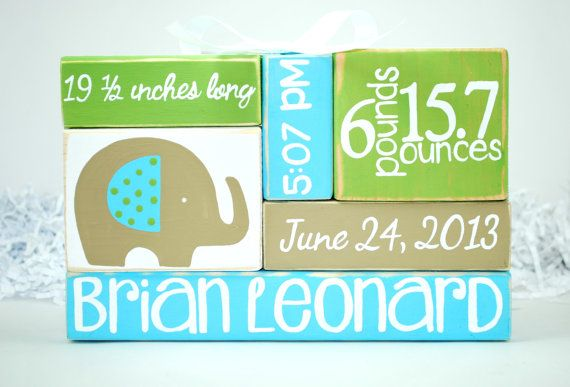 Elephant Baby Birth custom Stat WoodenBlock Shelf by WoodenBlock, $17.00