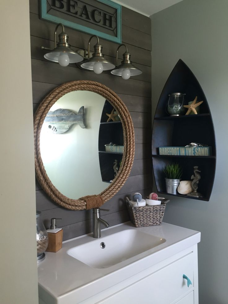 Lakehouse Bathroom   Chrome Down Lights, Recessed Boat Shaped Shelving,  Rope Wrapped Round Mirror.