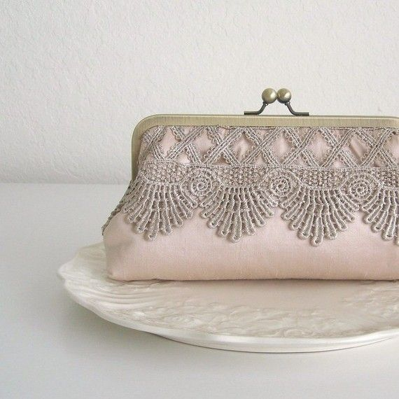 Rose Dust Lace Clutch.