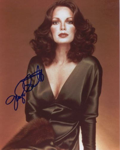Jaclyn Smith Signed Charlie's Angels Lovely In Low Cut Dress Color 8x10 Photo