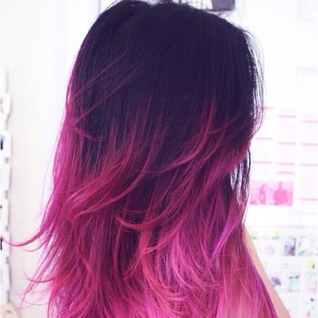Pink tips---I would love to be able to pull this off.: Purple Hair, Hair Colors, Pink Hair, Pinkhair, Dips Dyes, Ombre Hair, Hot Pink, Hairstyle, Hair Style