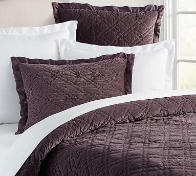 Washed Velvet Silk Quilt Napa Grape White Linen Bedding