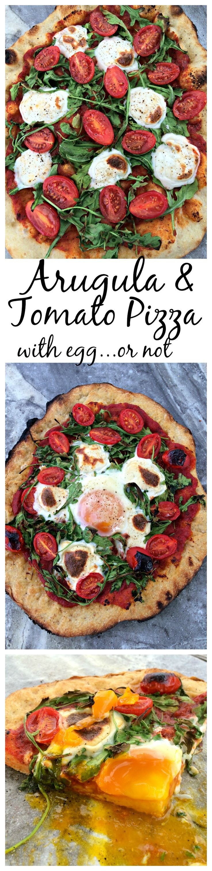 Tomato and Arugula Pizza ~ Homemade pizza with fresh arugula, mozzarella, and tomatoes with a farm fresh egg in the center. ~ The Complete Savorist