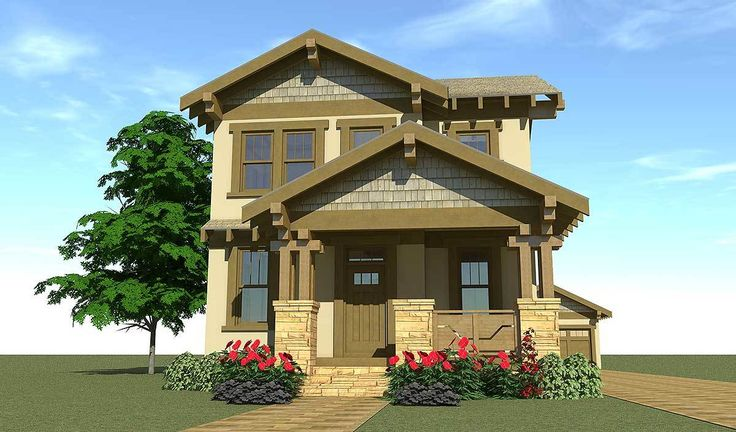 Craftsman Bungalow for Narrow Lot - 44119TD | Architectural Designs - House Plans