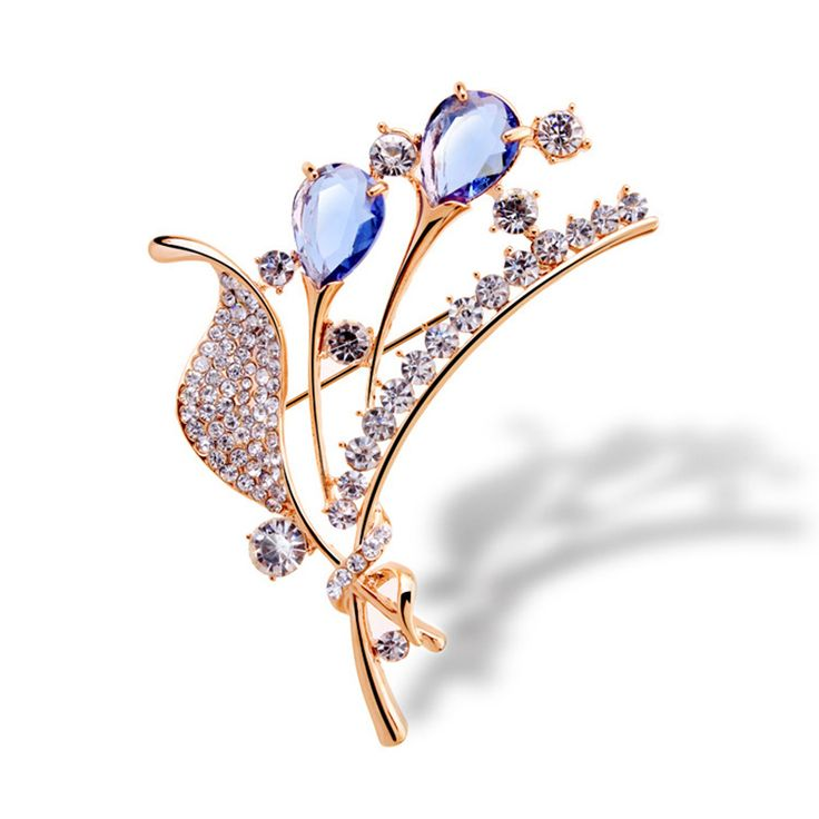 Hot sale lucky leave women brooches jewelry charming fashion crystal women brooches for gift 5859-1-111  #Affiliate