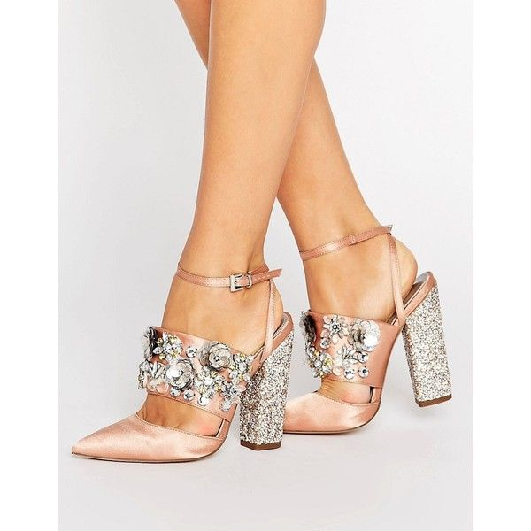 ASOS PAPAYA Bridal Embellished Heels ($97) ❤ liked on Polyvore featuring shoes, pumps, beige, beige pumps, bridal shoes, asos shoes, high heel shoes and bride shoes