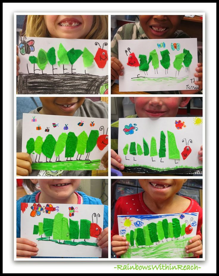 """Tissue Paper Art for """"Very Hungry Caterpillar"""" via RainbowsWithinReach"""