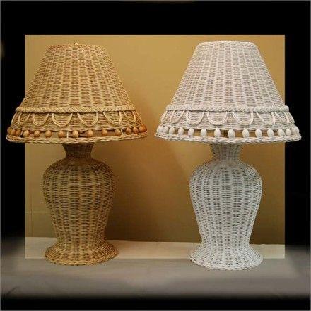 "Wicker Lamp Beaded - 24"" high"