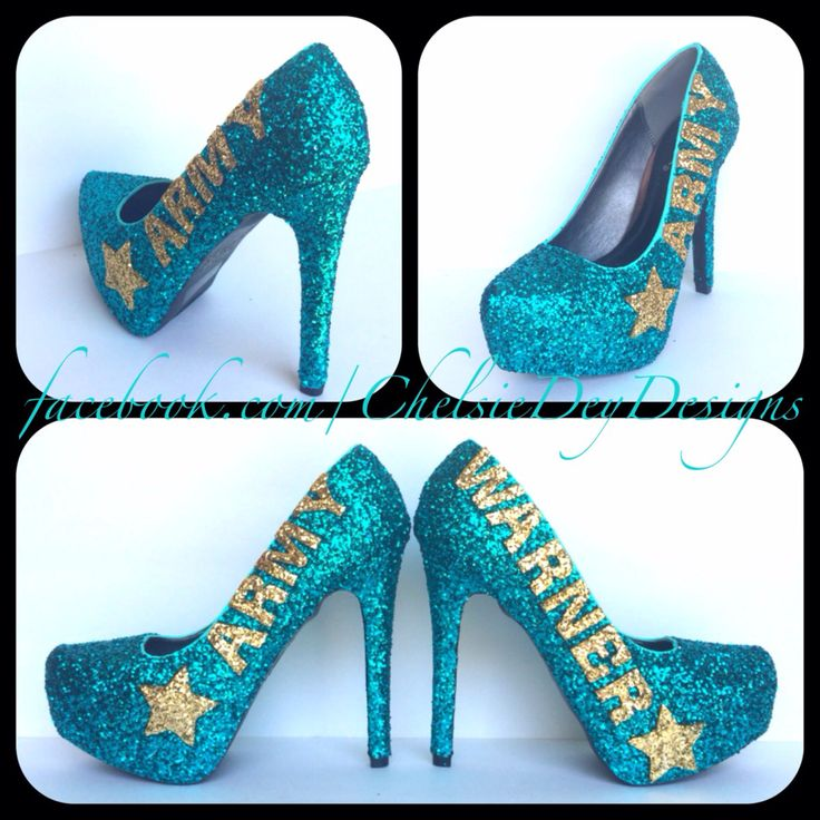 Teal Army Glitter High Heels - pinned by pin4etsy.com