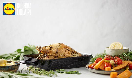 Kurczak w ziołach z pieczonymi słodkimi warzywami. Kuchnia Lidla - Lidl Polska #borysszyc #kurczak