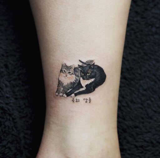 Este par perfeito de gatos http://tatuagens247.blogspot.com/2016/08/miniatura-animal-tatuagens-para-mulheres.html