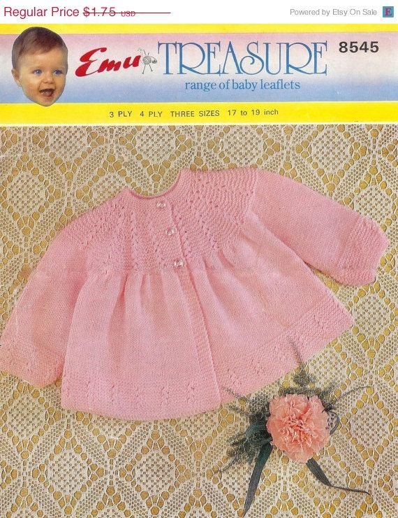 REDUCED Vintage PDF Baby  Knitting Patterns Emu 8545 3ply & 4ply matinee jacket 18 and 19ins on Etsy, £1.01