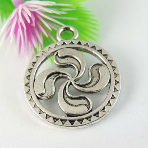16PCS Antiqued Style Silver Vintage Alloy Round Pendant Charms 36*26*2mm