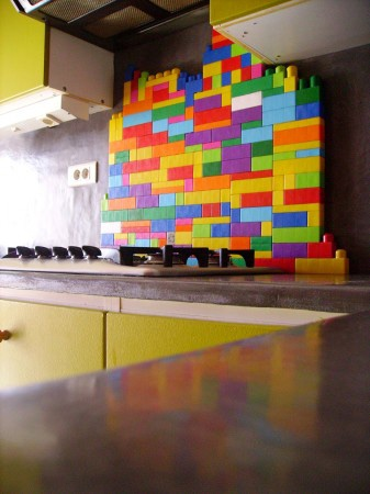 MEGA BLOCK backsplash?! So many levels of awesomesauce...