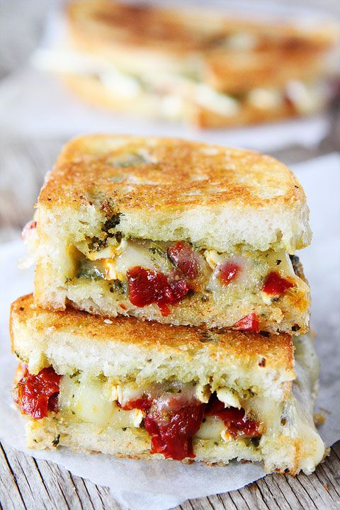 Pesto, Brie, and Sweet Pepper Grilled Cheese Sandwich