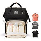 Diaper Bag Backpack for Baby Care, Multi-Functional Baby Nappy Changing Bag with Insulated Pockets, Waterproof Fabric, Large Capacity,Black